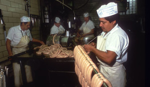 German sausages in production at Kochers pork butchers