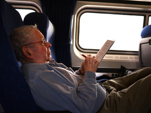 writer on a train